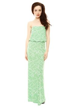 Green and white print strapless maxi dress. Simple yet chic!