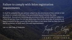 13A-11-186 Code of #Alabama - Failure to comply with felon registration requirements  #Criminal Defense #Lawyer #AL #KLF