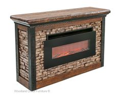Unique rustic electric fireplace featuring a ventless smokeless heater set in natural wood brick and log construction for cabin, lodge, ranch, mountain. Rustic Log Furniture, Fireplace Furniture, Faux Fireplace, Fireplaces, Northern White Cedar, Entertainment Center Kitchen, Fun Snacks For Kids, Nebraska Furniture Mart, Electric Fireplace