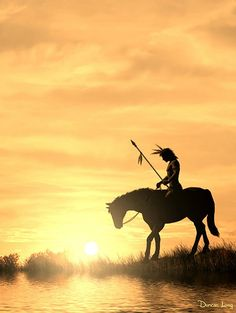 Last Warrior of the Plains by Duncan Long Native American on Horse in sunset