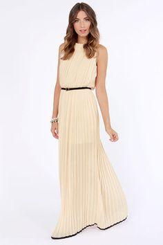 bridesmaids with prettier belt/sash  As Pleat as Honey Light Peach Maxi Dress at LuLus.com!