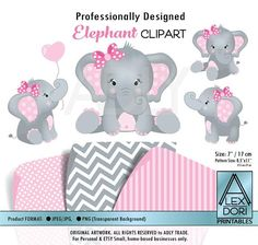 Instant download! ➳ 4 Professionally designed Pink & Gray Elephant/Peanut Clipart + 3 Pattern backgrounds for personal use. ∞ Print as many as you want! ❤❤ WHAT IS INCLUDED? ❤❤ 4 high-resolution Elephants clip art. Size: Each elephant is 7 high, 300 dpi (for professional