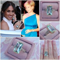 Princess Diana Style Aquamarine Ring, Princess Meghan Markle Aquamarine Ring Featuring Stunning 10 Carat Genuine Natural Aquamarine with Genuine White Sapphires in 14 kt White Gold and 14 kt Yellow Gold. Estilo Meghan Markle, Meghan Markle Style, Princesa Diana, Lace Flower Girls, Flower Girl Dresses, Princess Diana Jewelry, Aquamarin Ring, Princess Meghan, Royal Jewelry