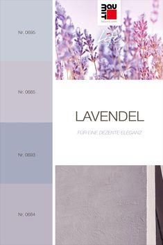 Lavendel umfasst die mittleren Violetttöne. Dieser kühle Violettton ergänzt Fassaden in mittleren und hellen Grautönen. Es verleiht den sonst unbunten kühlen Grautönen eine dezente Eleganz und einen Hauch von Farbe. Wir raten davon ab, bei Außenfassaden andere Farben mit Lavendel zu kombinieren, damit die Harmonie und ein natürliches Aussehen gewahrt werden. #farbpsychologie #Farbtrends2020wohnen #Farbtrends2020 #Farbtrend #Farbtrendswohnen #inspiration #farbinspiration #lavendel #fassade Moving Out, Colours, Pattern, Paint Color Pallets, Natural Looks, Lavender, Character Design, Patterns, Model