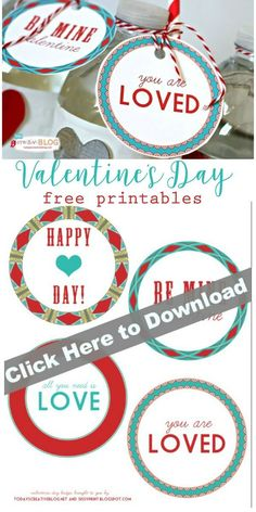 Printable Valentine Tags   Free printable Valentines Day gift tags and labels. See more on TodaysCreativeLife.com