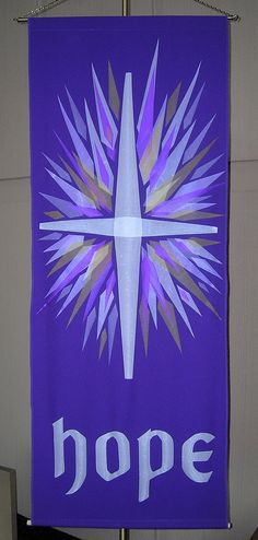 First Sunday of Advent nave banner Church Banners Designs, Church Design, Christian Symbols, Christian Art, First Sunday Of Advent, Stained Glass Quilt, Church Crafts, Christmas Banners, Sewing Art