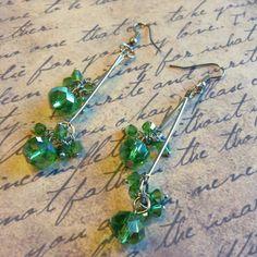 Handmade Swingy Light Green & Silver Faceted by CascadeJewelry, $13.99