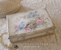 Shabby Romantic Vintage Bluebird and Roses Keepsake Box available at www.debicoules.com