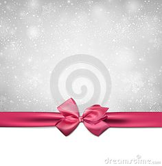 Christmas background with pink bow.