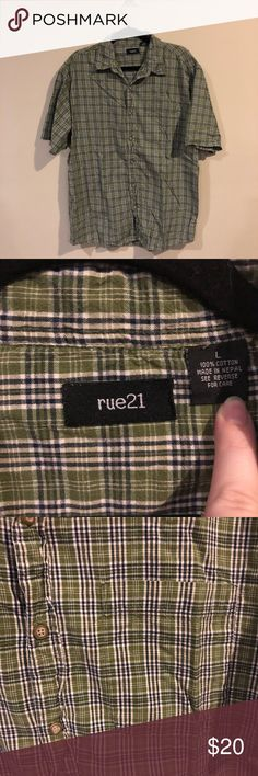 Rue21 Green Plaid Button Down Rue21 casual button down Green plaid with cream and blue Short sleeves One chest pocket Material 100% Cotton Size Large I don't believe my husband ever wore this but it doesn't have tags so I am not sure. Rue21 Shirts Casual Button Down Shirts