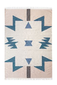 Kelim Rug Blue Triangles vloerkleed large 140x200 | Ferm Living