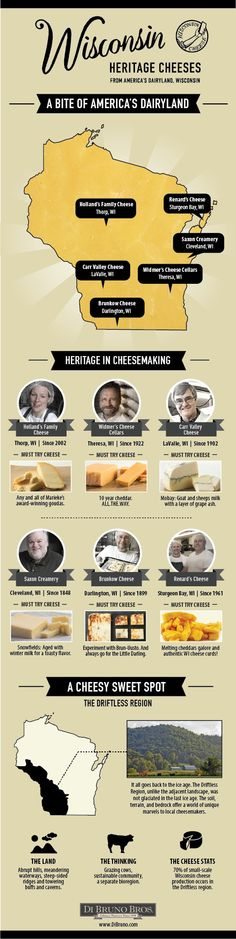 Learn all about America's Dairyland, Wisconsin! #cheese #dibrunobros #infographic
