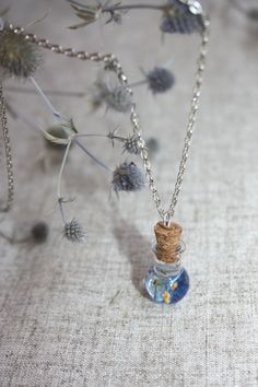 Glass bottle pendant. forget-me-not pendant. Pendant bottle and blue Flower in the epoxy resin. Pendant epoxy resin. by Dingaya on Etsy
