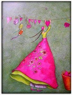Pintura Graffiti, Art Fantaisiste, Art Carte, Naive Art, Whimsical Art, Sweet Girls, Beautiful Paintings, Oeuvre D'art, Art Girl