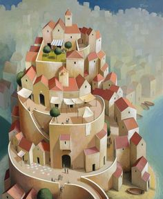 Michiel Schrijver - Town and time. 90 x 100 cm. 2013