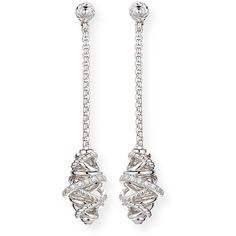 David Yurman Sterling Silver Crossover Chain Drop Earrings with... ($1,200) ❤ liked on Polyvore featuring jewelry, earrings, diamond, diamond jewellery, diamond drop earrings, diamond earrings, sterling silver jewelry and sterling silver jewellery