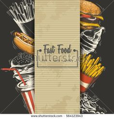 Hand-drawn Fast food menu. Background with food for menu and advertising or packaging. Sketch. Vector design