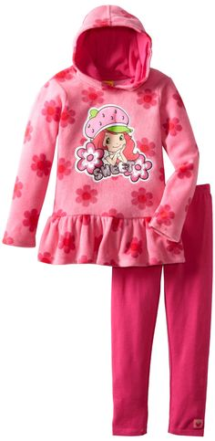 74e13daebf Strawberry Shortcake Little Girls  2 Piece Flower Pullover Hoodie And Pant