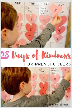 FREE PRINTABLE - 28 Preschool Kindness Activities Sure to Inspire - Teach your preschooler about kindness and friendship with this printable 28 days of kindness activity. One fun kids activity for each day of the month of February! Perfect for a friendship theme in preschool, too! #kidsactivities #valentinesday #friendship #preschool