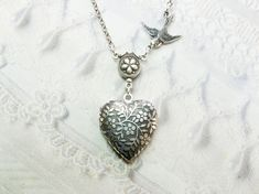 Silver Locket Necklace  Little HEART FLOWER LOCKET  by birdzNbeez, $22.00