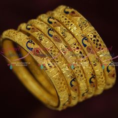 Peacock Design Jewellery 100 Milli Gram Forming Gold Bangles Latest Designs Shop Online Exclusive gold finish premium looking bangles set of 6 pieces. The jewellery is gold plated using forming gold method wi Design Shop, Gold Bangles Design, Real Gold Jewelry, Shops, Gold Plated Bangles, Peacock Design, Imitation Jewelry, Bangle Set, Jewellery Designs
