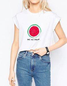 Image 3 of ASOS Cropped T-Shirt With Melon Print
