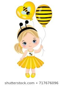 Vector cute little girl with air balloons. Little girl dressed in bee style. Little girl vector illustration Little Girl Cartoon, Cute Little Girls, Little Girl Illustrations, Illustrations And Posters, Eid Crafts, Classic Cartoon Characters, Paint Cards, Halloween Pictures, School Decorations