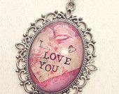I Love You Necklace - I Love You Pendant - I Love You Jewelry - I Love You  - I Love You Art - Loving Cameo - Loving Art - Cartoon Cameo Art