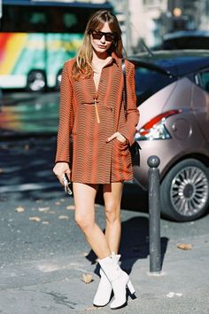 Ethnic print coat with white seventies ankle boots in a casual/sporty look - Spring 15 in a Wrap.