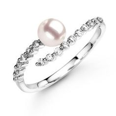 Akoya Cultured Pearl Diamond Curved Shank Ring, Pearl Solitaire Ring with Diamond Accents | Angara