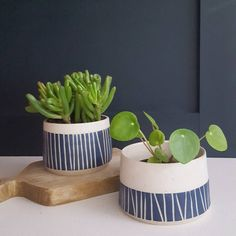 Little sgraffito planters. The same but different.