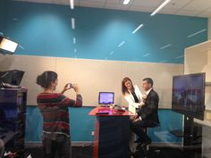 This was before the interview with Sky News Business (Channel 602) on Wednesday, 17th September 2014 (2.30pm). -- Preparation for the LIVE TV interview by the TV staff.  I had my lovely wife by my side. I felt very empowered!