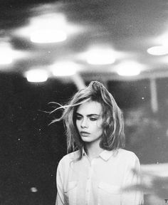 Black and White Portrait Photography of Cara Delevigne