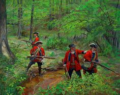 The 60th Royal American Regiment of Foot preparing to assault Fort Duquesne during the French and Indian War.