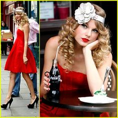 Taylor Swift channels her inner 1940s self as she gets dolled up for a photo shoot in London's trendy Notting Hill district on Monday morning (August 24).    The 19-year-old songstress looks like a genuine Coca-Cola girl — take a look at some vintage posters and tell us what you think!
