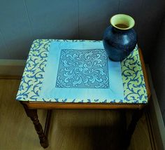 Trapunto embroidered blue small table topper placemat side