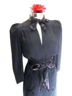 S 30s Bolero Jacket Deco Black Satin Crinkle by LikewiseVintage