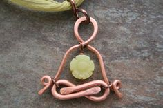 ~ F L O W E R ~ P O W E R ~ Y O G I ~ A Little Yogi in pure copper with Jade and silk.. Artist: BIBI   *** M A D E TO O R D E R ***   ~ Meditating on flower power beams emanating from within, a cute Little Yogi sits in Lotus, with hands in gyan mudra. A gorgeous hand carved olive green Jade flower swings free at the heart. Lotus legs and heart flower are move-able parts.   CHOOSE your C H A I N : Chain: ~Solid copper rolo chain, 1.5mm links, with a handmade solid copper hammered s-clasp…