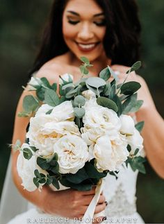 Ivory and Eucalyptus Bridal Bouquet Silk flowers #affiliate