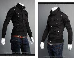 NWT Men's Fashion Casual Slim Fit Coats & Jackets Black