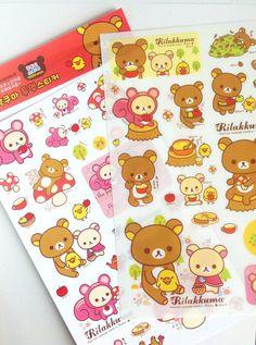 Rilakkuma stickers , new rilakkuma , cute stickers , colorfull stickers , kids stuff , kawaii stickers via Etsy
