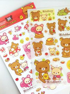 Rilakkuma stickers , new rilakkuma , cute stickers , colorfull stickers , kids stuff , kawaii stickers via Etsy