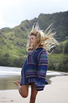 #Woman in a #baja #hoodie at the #beach.