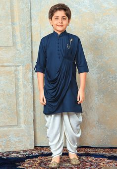 Buy Blue Rayon Readymade Kids Draped Kurta Pajama With Jacket 175315 online at lowest price from vast collection at Indianclothstore.com.