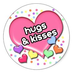Candy Hearts Hugs and Kisses Valentine Round Stickers Valentine Candy Hearts, Valentine Day Cards, Valentines Design, Vintage Valentines, Hugs And Kisses Images, Round Stickers, Love Is Sweet, Custom Stickers, Make It Yourself
