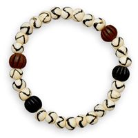8in Bone and Wood Bead Stretch Bracelet