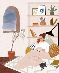 Yo me quedo en casa. I stay at home. Io resto a casa. Art And Illustration, Illustrations, Buch Design, Wow Art, Aesthetic Art, Belle Photo, Art Girl, Art Inspo, Graphic Art