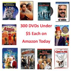 300 DVDs for under $5 each today on Amazon