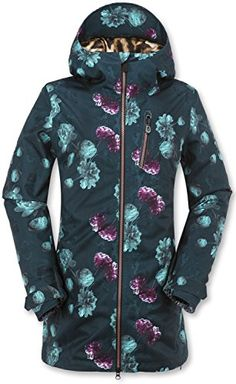 Volcom Juniors Astrid GoreTex Printed Snow Jacket Peony PrintEmerald Green Small -- Details can be found by clicking on the image.