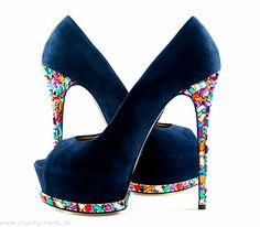Gianmarco Lorenzi Couture Midnight Blue Pumps #GL #Lorenzis #Heels